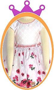 Vestido infantil Estampa de Rosas Pequenas  e Urso