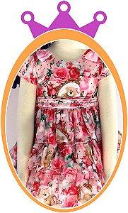 Vestido infantil Estampado com Flores e Urso