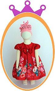 Vestido Vermelho com Estampa de Flores no Barrado e Laço com Pedras - Acompanha Tapa Fralda