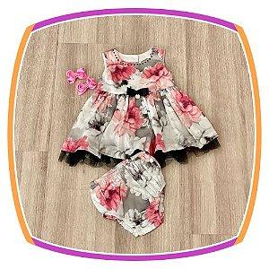 Vestido infantil Estampa de Flores Rosas, Cinza e Preto