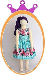 Vestido Azul Estampado de Flores Rosas com Aplique de Pedras no Corpo