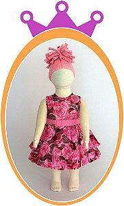 Vestido infantil  Estampa de Flores e Aplique de Flor no Ombro