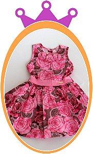 Vestido Rosa e Marrom com Estampa de Flores e Aplique de Flores no Colar