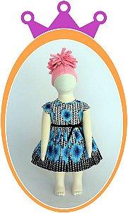 Vestido Estampa Preta e Flores Azuis - Acompanha Tapa Fralda