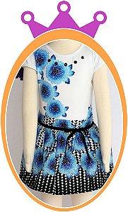 Conjunto infantil Blusa Estampa de Flores e Saia Preta Estampada