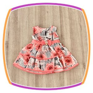 Vestido infantil Estampa Paris