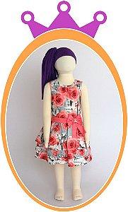 Vestido com Estampa Paris Rosa e Cinza e cinto e colar com Aplicação em Pérolas
