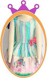 Vestido infantil Listrado e Saia Estampa de Castelo