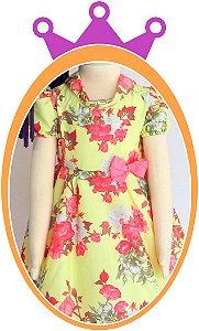 Vestido infantil Estampa Flores Rosas e Brancas