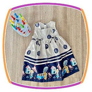 Vestido infantil Poá e Estampa de Praia na Barra