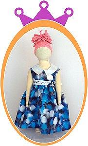 Vestido Regata Azul com Gola e Estampa de Bexigas e Pedras Azuis no Cinto