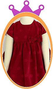 Vestido infantil com Poá e Laço