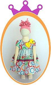 Vestido Cinza Claro com Estampas Moinho, Torre Eiffel e Bicicletas