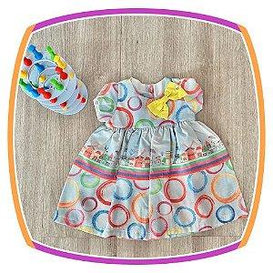 Vestido infantil Estampas Moinho, Torre Eiffel e Bicicletas