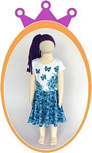 Vestido em Neoprene com Estampa de Borboletas Azuis
