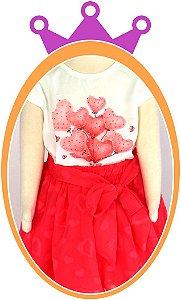 Conjunto infantil Blusa e Saia com Coração aplicado