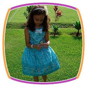 Vestido infantil Estampado e Barra com Rosas Azuis e Musgo