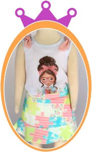 Conjunto infantil Blusa Menina e Shorts Saia em Estampa Patchwork