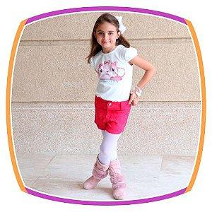 Conjunto infantil Blusa Estampa Bolsa de Gatinha e Shorts Bordado