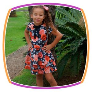 Vestido infantil Estampa Rosas e Saia em Babados