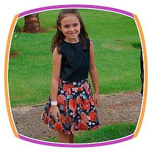 Vestido infantil Corpo Liso e Saia com Estampa de Rosas