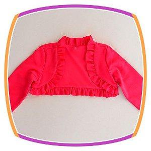 Bolero infantil com Babados - Cor: Rosa Pink