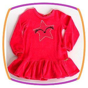 Vestido infantil em Plush Estampa Olhos