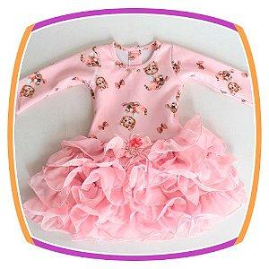 Vestido infantil Estampa Gatinho e Saia em Babado