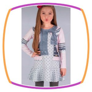 Vestido infantil estampa colete e cachecol