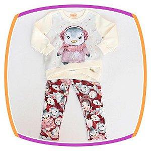 Conjunto infantil Blusão estampa Pinguim e calça legging