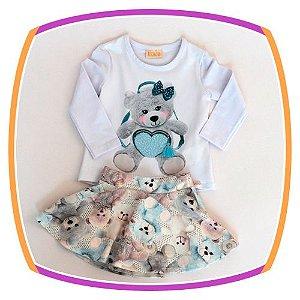 Conjunto infantil de Blusa Estampa Urso e Saia  estampada