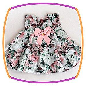 Vestido infantil floral  com Prega e Laço
