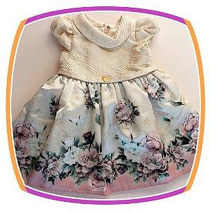 Vestido Infantil Corpo Nude com Brilhos e Saia Barrado Floral