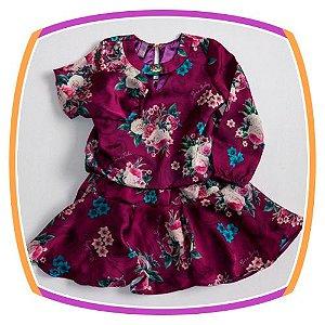 Vestido infantil estampa Floral Uva