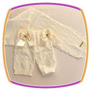 Conjunto Cachecol e Polaina infantil em tricot - pérola