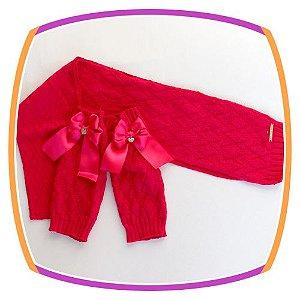Conjunto Cachecol e Polaina infantil em tricot Losango -  pink