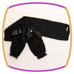 Conjunto Cachecol e Polaina em tricot Losango -  preto