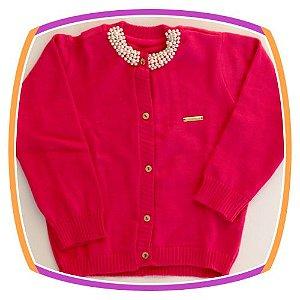 Cardigan infantil em tricot com pérola aplicada - pink