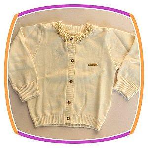 Cardigan em tricot com pérola aplicada - pérola