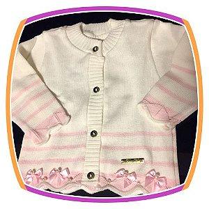 Cardigan infantil em tricot bebe off white e rosa