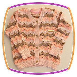 Cardigan em tricot com listras  - rosa