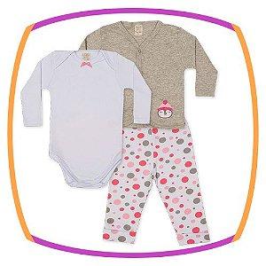 Conjunto infantil Body Manga Longa, Calça e Casaco bordado pinguim