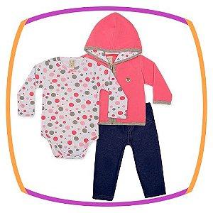 Conjunto infantil Body Suedine Manga Longa, Casaco Soft e Calça Jeans