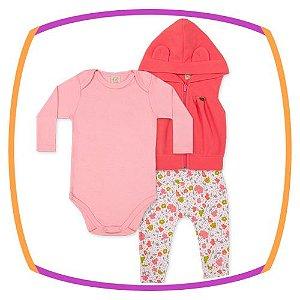 Conjunto infantil Body Manga Longa, Calça Saruel Suedine e Colete Soft - com proteção solar
