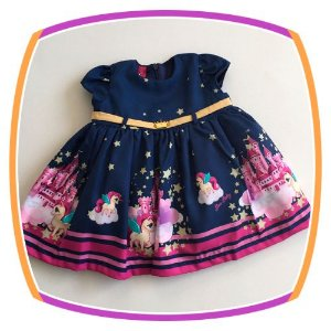 Vestido infantil Unicórnio Stars