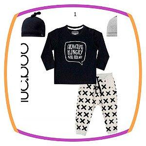 Conjunto de bebê 3 peças  -  camiseta, calça e touca