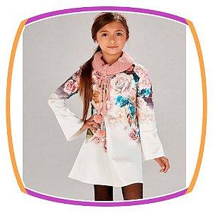 Vestido com manga flare e estampa floral