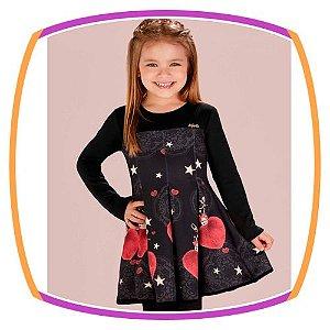Vestido estampa de corações - preto