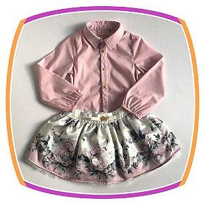 Conjunto infantil camisa em body e saia floral