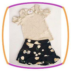 Conjunto infantil blusa com saia  preta (shorts embutido) estampa flores